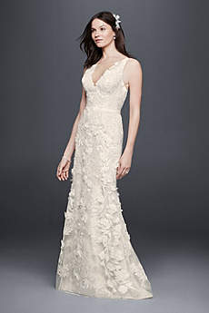 Long Sheath Romantic Wedding Dress - Priscilla of Boston