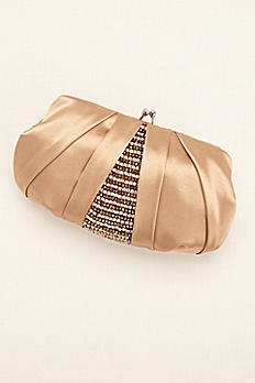 Satin and Rhinestone Accented Clutch by Menbur POLOTA