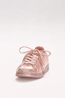 Qupid Pink Casual Shoes (Metallic Lace-Up Sneakers)