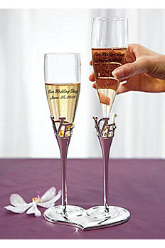 Personalized Love Heart Champagne Flute Set 8544