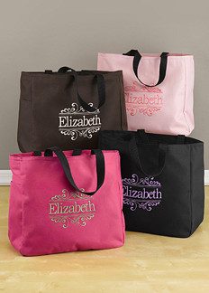Ideas For Bridal Gift Bags : Personalized Baroque Tote Bags ToteBMP