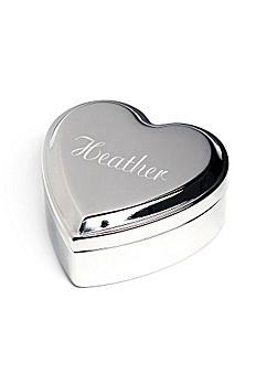 Engraved Silver Heart Keepsake Box 1882