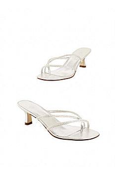 Silver Metallic Low Heel Sandal with Rhinestones MarlySilver
