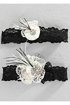 Black Lace Pearl Vintage Lace Garter Set A91401