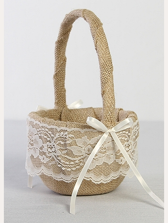 DB Exclusive Burlap and Lace Flower Girl Basket DB87FGB