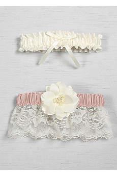 DB Exclusive Floral Lace Bridal Garter Set