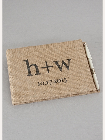Personalized Printed Burlap Guest Book and Pen DB88GBP
