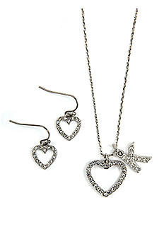 Personalized Open Crystal Heart Necklace Set SET1484