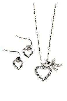 Personalized Open Crystal Heart Necklace Set