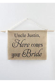 Personalized Burlap Here Comes Your Bride Sign DB71001