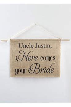 Personalized Burlap Here Comes Your Bride Sign