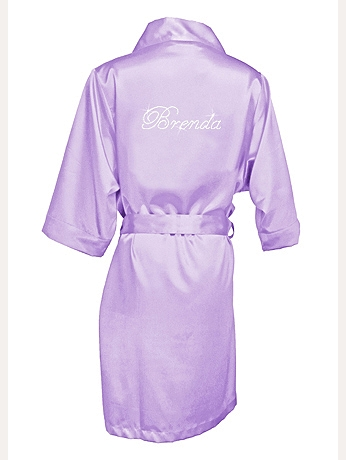 Personalized Rhinestone Bridesmaid Name Satin Robe DBCSTNMRB