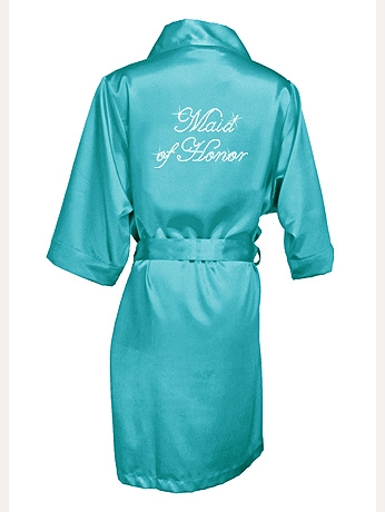 Rhinestone Maid of Honor Satin Robe DBMOHRB