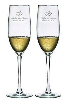 Personalized Heart Design Toasting Flutes DB7902CN1