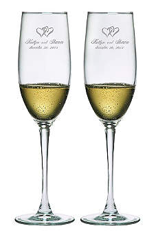 Personalized Heart Design Toasting Flutes