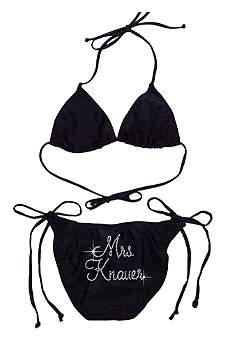 Personalized Mrs. Rhinestone Side Tie Swimsuit