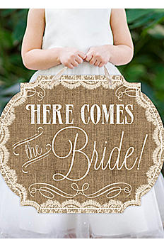 Burlap & Lace Print Here Comes the Bride Sign DBKXZFS15GBAL
