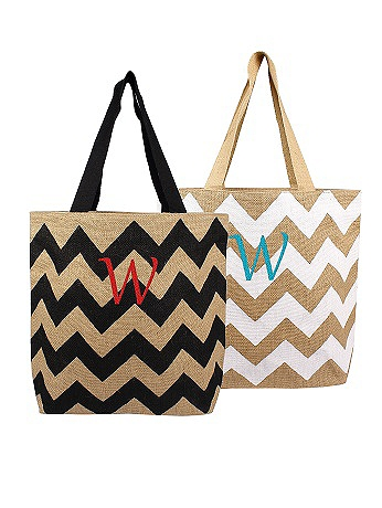 DB Exclusive Personalized Chevron Jute Tote Bag 2138