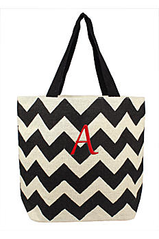 DB Exclusive Personalized Chevron Jute Tote Bag 2141