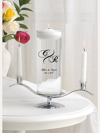 Personalized Modern  Floating Unity Candle Set GC377modmonogram