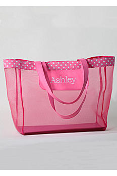 DB Exc Personalized Pink Polka Dot Mesh Tote Bag 41181177