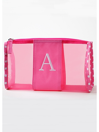 DB Exc Personalized Pink Polka Dot Mesh Pouch 41181179