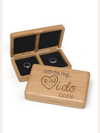 Personalized I Do Wooden Ring Box DBKX32694P