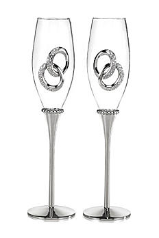Personalized Two Rings Toasting Flutes DBK33261P