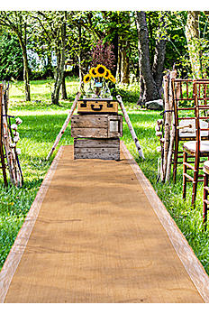 Burlap Aisle Runner with Delicate Lace Borders 9536