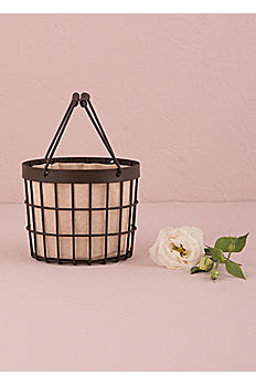 Rustic Wire Flower Girl Basket with Liner 9810