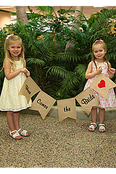 Here Comes the Bride Burlap Banner DBK20228
