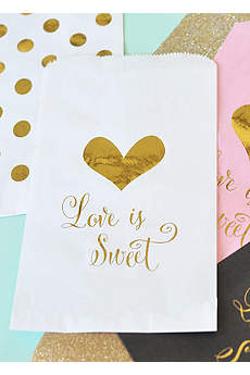 Love is Sweet Foil Candy Buffet Bags Set of 12