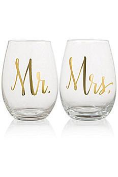 Mr and Mrs Stemless Wine Glasses F150445