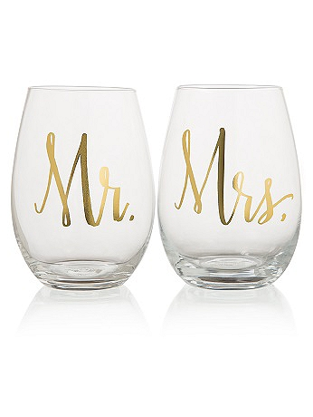 Mr and Mrs Stemless Wine Glasses F150445