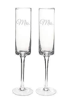 Mrs. and Mrs. Contemporary Champagne Flutes