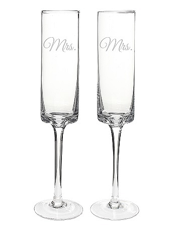 Mrs. and Mrs. Contemporary Champagne Flutes MRS3668