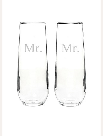 Mr. and Mr. Stemless Champagne Toasting Flutes MR1228-2