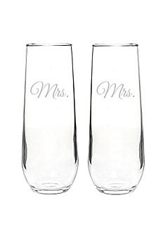 Mrs. and Mrs. Stemless Champagne Toasting Flutes MRS1228-2