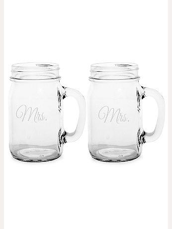 Mrs. and Mrs. Old Fashioned Drinking Jar Set MRS1190-2