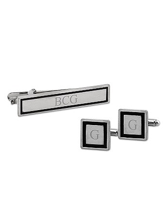Personalized Black Border Cuff Links and Tie Clip S1090