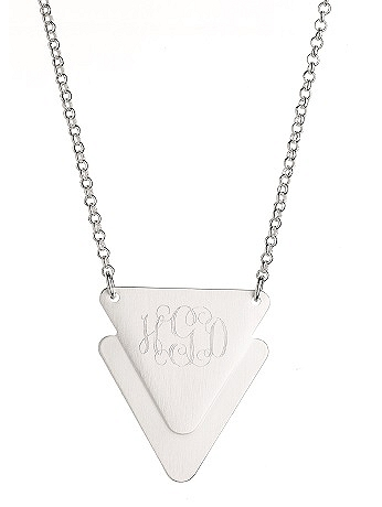 Personalized Matte Triangle Charm Necklace N640