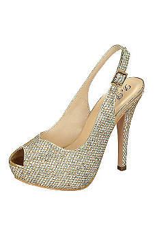 Blossom Grey Peep Toe Shoes (Glitter Peep Toe Slingback High Heel by Blossom)
