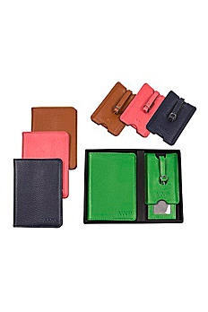 Personalized Leather Passport  and Luggage Tag Set 3805