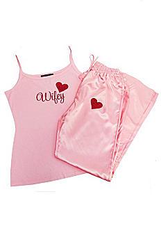 Glitter Print Pink Wifey Pajama Set PJWIFEY