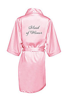 Embroidered Maid of Honor Satin Robe EMRB-MOH