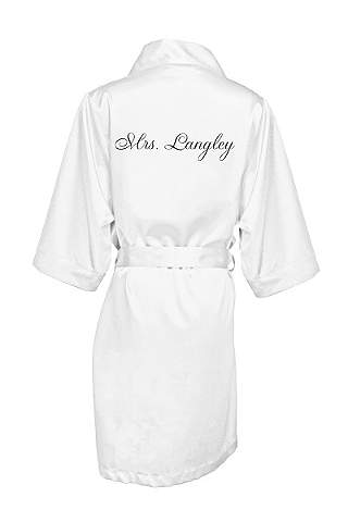 Personalized Embroidered Mrs Satin Robe