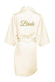Glitter Print Bride Satin Robe GLTRB-BRIDE