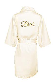 Glitter Print Bride Satin Robe