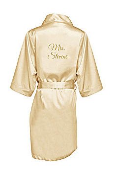 Personalized Glitter Print Mrs. Satin Robe GLTRB-MRS
