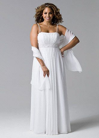 Spaghetti Strap Chiffon A-Line with Front Draping